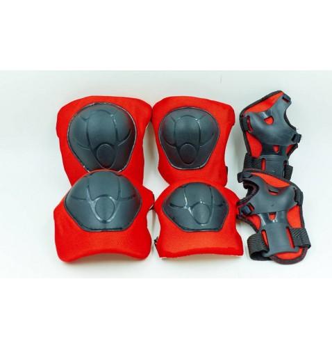 Защита детская наколенники, налокотники, перчатки BQ-118 (5-8лет, розовая, синяя, красная)
