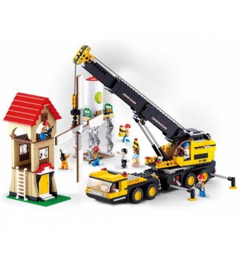 Конструктор SLUBAN Стройплощадка, дом, кран, фигурки MMT-M38-B0553
